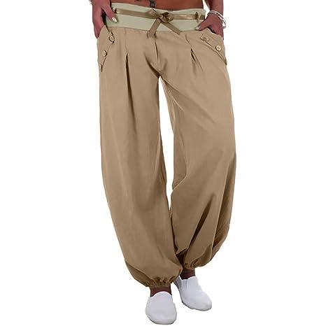 Pantalones Largos Casual de Mujer SUNNSEAN Estilo Casual Cintura ...