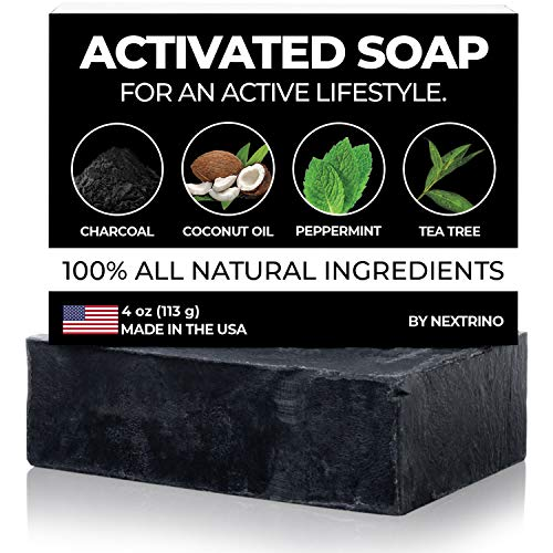 Activated Charcoal Tea Tree Soap - with Peppermint! Made in the USA: All Natural, Vegan Bar Soap with Organic Oils for Face & Body. Wash Away Odor & Germs