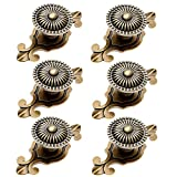 2 in 1 Vintage Style Round Drawer Knobs Dresser Cabinet Cupboard Wardrobe Pull Handles Door Knobs for DIY with Screws, Pack of 6, Bronze