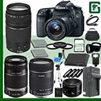 Canon EOS 70D Digital SLR Camera Kit with 18-55mm IS STM Lens and Canon EF 75-300mm III Lens and Canon 50mm f/1.8 Lens and Canon 55-250mm Lens and Canon 18-135mm Lens + 32GB Green's Camera Package Overview Review Image