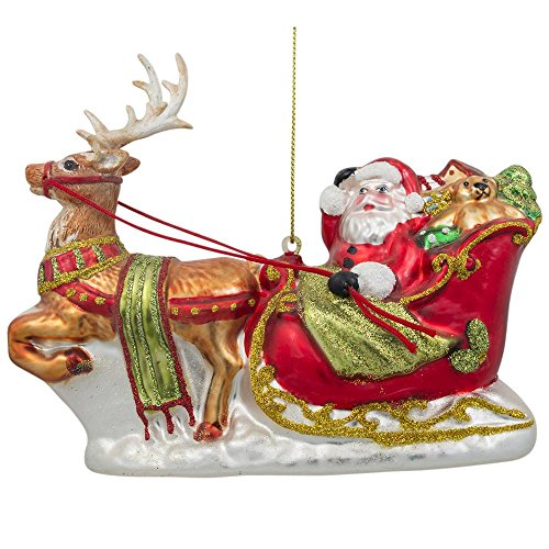 BestPysanky Santa on Sleigh with Reindeer Blown Glass Christmas Ornament 5.7 Inches ()