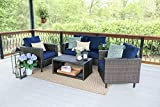 Leisure Made Draper 4 Piece Outdoor Seating, Navy Fabric