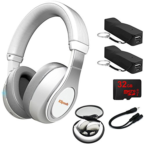 Klipsch Reference Over-Ear Bluetooth Headphones White (1063394) 2x Voltix 2600mAh Portable Power Black, 32GB MicroSD Memory Card & 6-inch 3.5mm Splitter Stereo Plug/Two 3.5mm Stereo Jack Cable by Klipsch