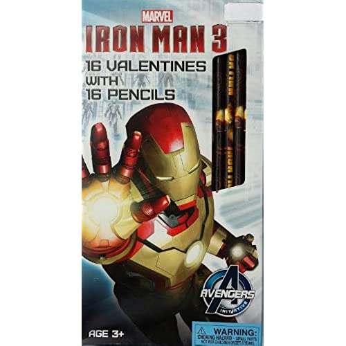 Iron Man Valentines Day Cards with 16 Valentines and 16 Pencils Sales