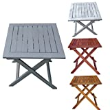Foldable wooden table 'Dionysos', perfect for the terrace or camping, eucalyptus solid wood, side table, garden table, vintage, retro, many colours available, grid optics