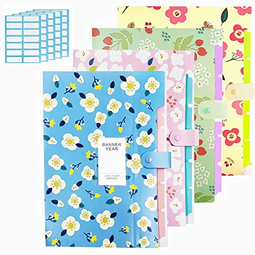 Expanding File Folder - 4 Pcs Accordian File Organizer with 5 Pockets Plastic A4 Letter Size Document Organizer and 168 Pcs File Folder Labels for School and Office