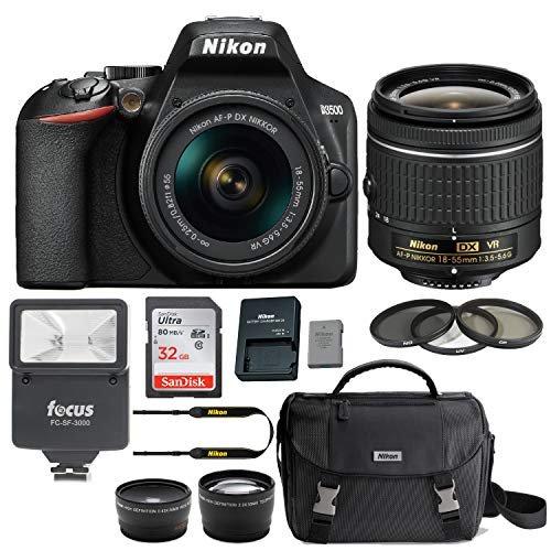 Nikon D3500 DSLR Camera with AF-P DX NIKKOR 18-55mm f/3.5-5.6G VR Lens- Bundle Case, 32GB Card, Flash, Filters, Accessories