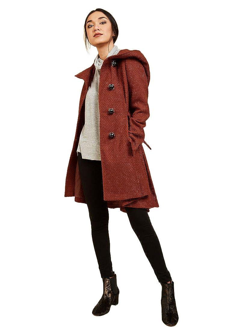60d05a5b285 Sportoli Womens Single Breasted Wool Blend Belted Winter Dress Drama Coat  with Hood