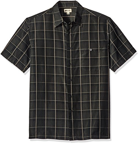 Haggar Men's Short Sleeve Microfiber Woven Shirt, Black, Medium