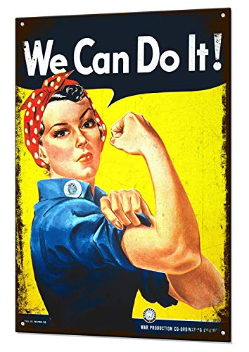 (Tin Sign 8X12 inches We Can Do It Rosie The Riveter Medium Metal Tin Sign)