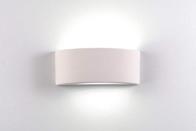 Applique curvo lampada da parete moderno ceramica effetto gesso