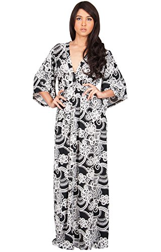 KOH KOH Plus Size Women Long Kimono 3/4 Sleeve Sleeves V-Neck Floral Retro Print Flowy Summer Formal Maternity Sun Sundress Gown Gowns Maxi Dress Dresses, Black and White XL 14-16 (2)