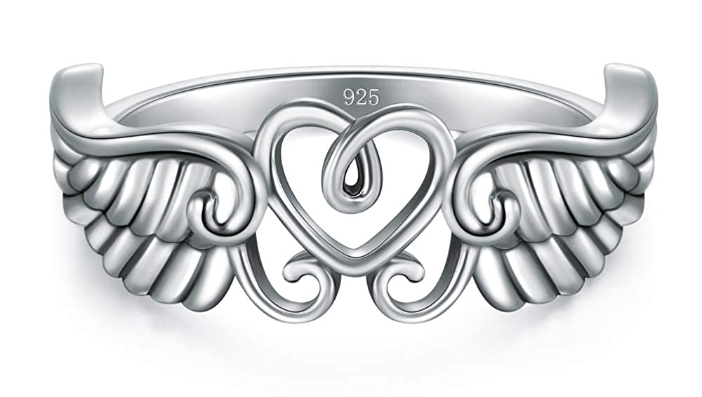 BORUO 925 Sterling Silver Ring High Polish Heart Angle Wings Ring 4-12