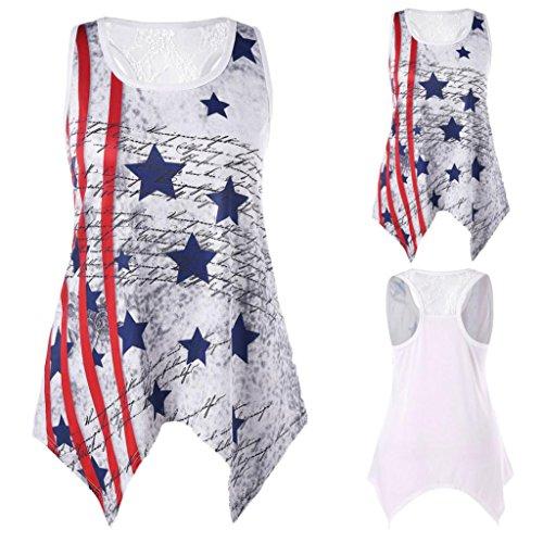 Women Tank Top American Flag Printed T-Shirt Sexy Handkerchief O Neck Lace Summer Blous