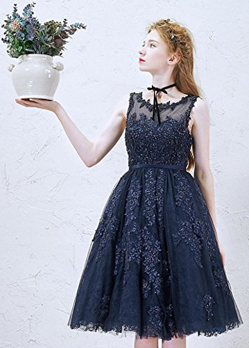 Elegant Damen Abendkleider navyblau Beauty Dunkel Spitze Knielang Kurz Für Emily Hochzeit qcpXE1T4HX