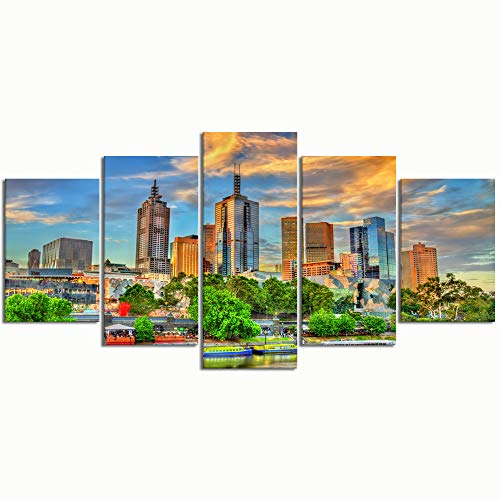 PENGTU Paintings Modern Canvas Painting Wall Art Pictures 5 Pieces, Skyscrapers Melbourne Central Business District Australia,Wall Decor HD Printed Posters ()