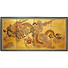 """Oriental Furniture 36"""" Dragon in the Sky on Gold Leaf"""