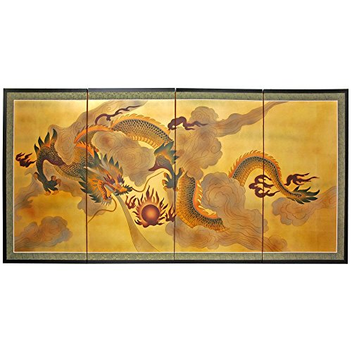 Oriental Furniture 36'' Dragon in the Sky on Gold Leaf by ORIENTAL FURNITURE