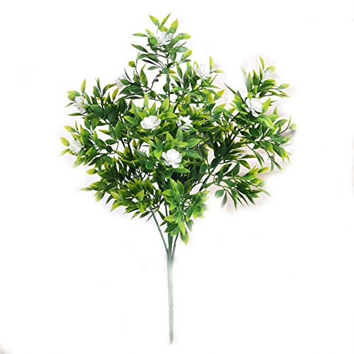 Artificial Fake Camellias Flowers Outdoor UV Resistant Greenery Shrubs Plants Indoor Outside Hanging Planter Home Garden Decoration 1 Piece Green ()