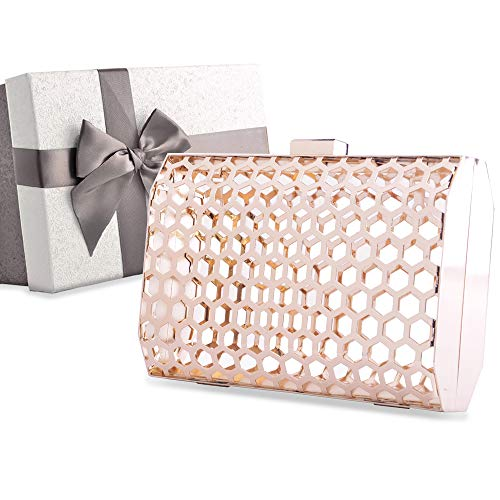 Womens Clutch Bag, Designer Clutch Bag Evening Handbag,Wedding Bag,Ladies Party Clutch Purse,Gift Choice for Valentine's Day with Gift Box (Gold-Metal Hollow-square corner)