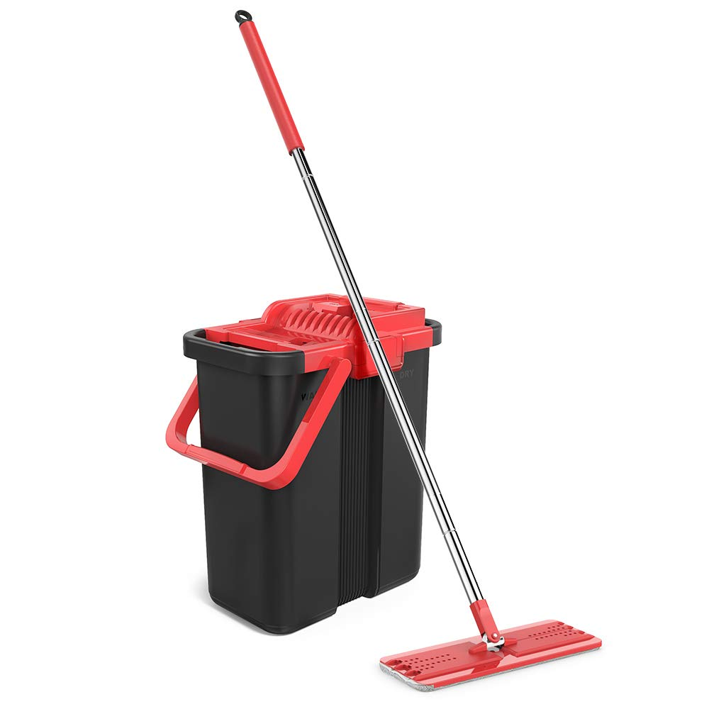 Topmop Stainless Steel EasyWring Microfiber Mop and Bucket System for Floor Cleaning with 3 Flat Mop Heads