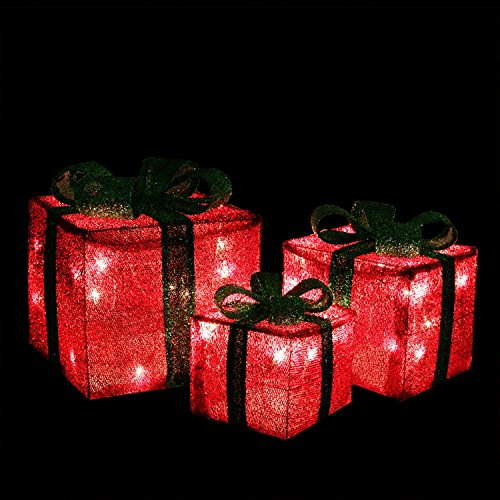 Set of 3 Lighted Sparkling Green Sisal Gift Boxes christmas Yard Art Decorations by Northlight (Image #2)