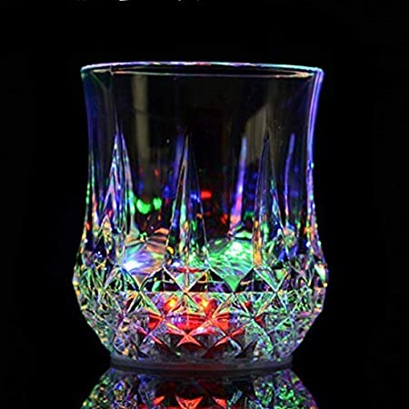Zeerkeer Beber Vasos con 5 LED ,Vasos de Whisky con Cambio de Color Luces de acrílico Plexiglás Vasos de luz LED inductivos para Bar Beber Borbón, Cócteles, Vodka