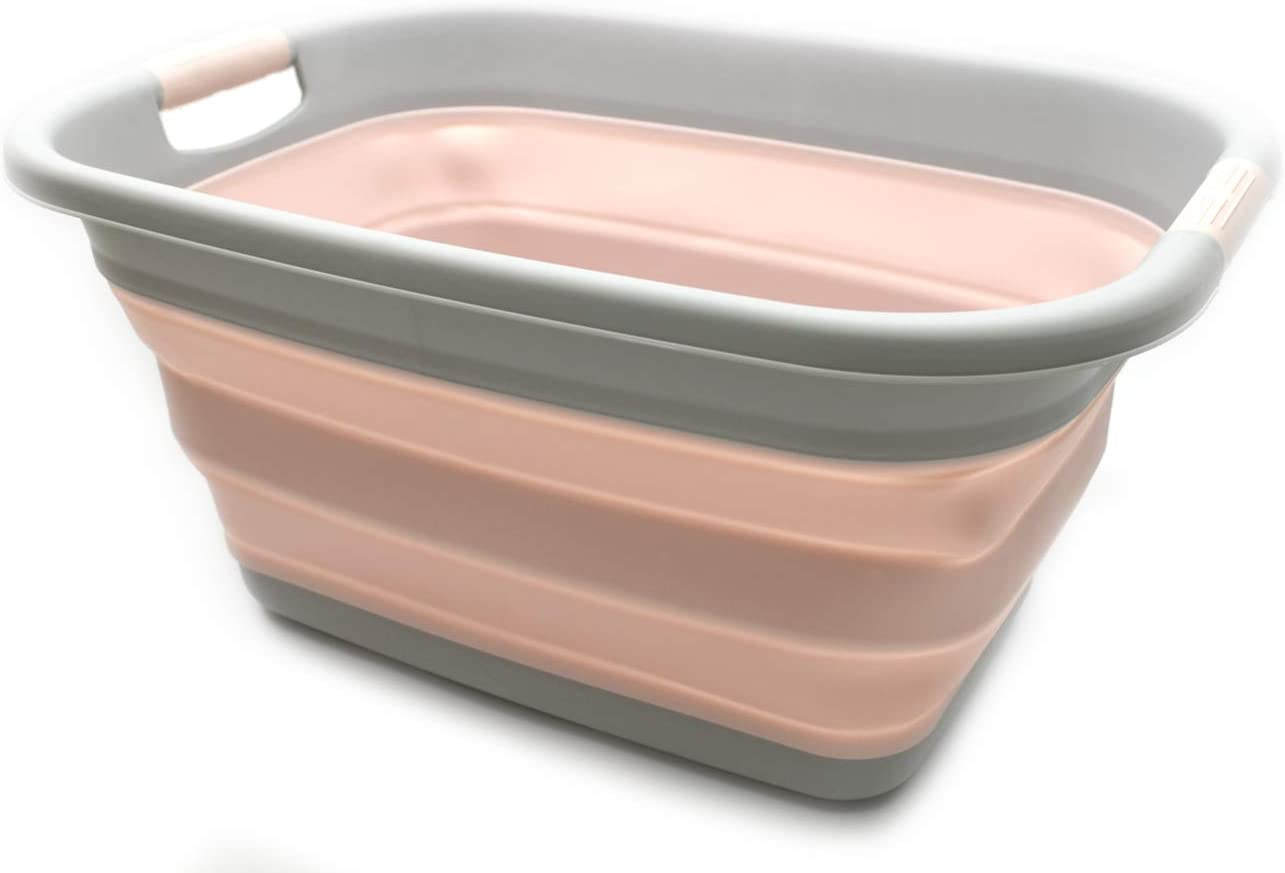 SAMMART Collapsible Plastic Laundry Basket - Foldable Pop Up Storage Container/Organizer - Portable Washing Tub - Space Saving Hamper/Basket (1, Pink)