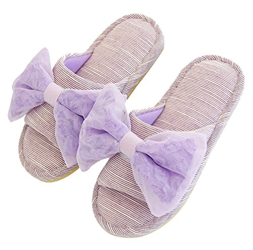 Cattior Womens Purple Bows Cute Indoor House Slippers Open Toe Slipper Da Camera Viola