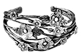 Paz Creations ♥925 Sterling Silver Floral Openwork Cuff, Made in Israel (7.25)