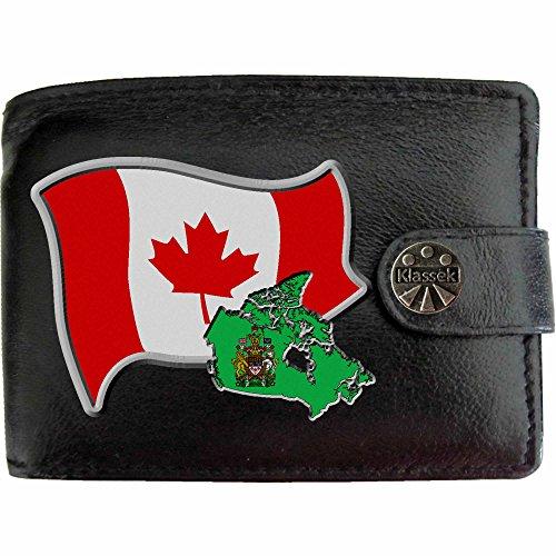Canadiens Boîte Cuir Drapeau Homme Métal Carte Cadeau Armoiries Avec Monnaie Présente Canada Klassek Porte Véritable Noir Portefeuille En nF0zzdx