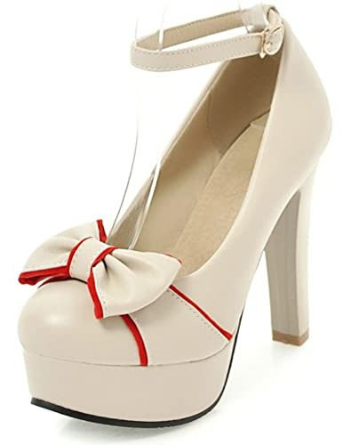 4c14ddc3753 SFNLD Women s Sweet Bows Round Toe Platform Low Cut Ankle Strap High Chunky  Heels Pumps Shoes