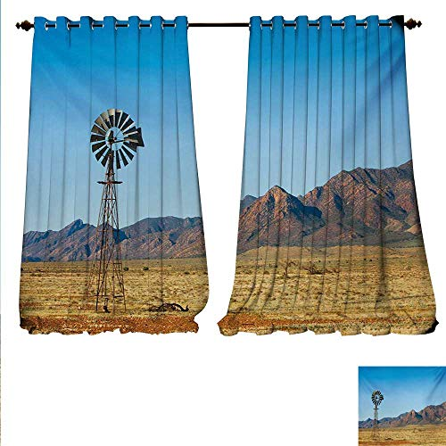 familytaste Decor Curtains by Flinders Ranges South Australia Mountains Barren Land Summer Patterned Drape for Glass Door W96 x L96 Earth Yellow and Pale Blue.jpg