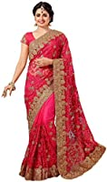 Nivah Fashion Women's Full 'Net' Havy Embroidery Work Saree (Pink_K598AZ)-NOR