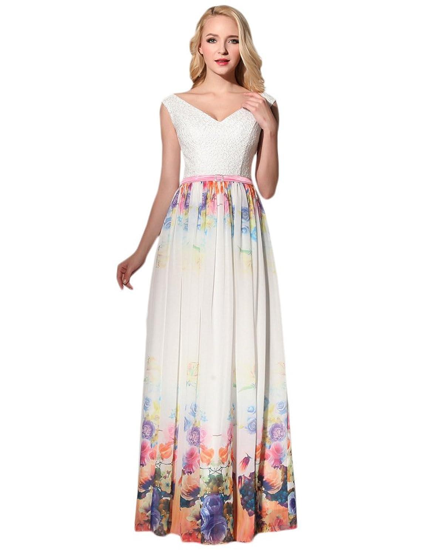 Ikerenwedding Women's Bateau Sleeveless Printed Maxi Sheath Chiffon Party Dress