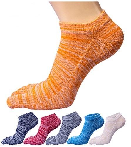 Toe Ankle Socks (HONOW Women's Low Cut Toe Socks Ankle Cotton Running Socks(Pack of 6))