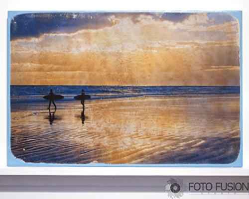 12x18 Surfer Silhouette - Fine Art on Wood:Photo Transfer Art on Wood, Sunrise Surfers at Daytona Beach (Surfer Silhouette)