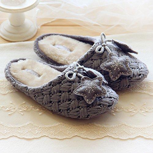 Fankou maglia a mano anti-slittamento interno silenzioso casa calda pantofole ,38-39, bianco