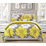 3 Piece Girls, Gorgeous Elegant Classic Floral Pattern Quilt Set Queen, Contemporary Allover Beautiful Abstract Flower Design, Beautiful Bouquet Theme, Reversible Bedding, Adorable Yellow, White Color