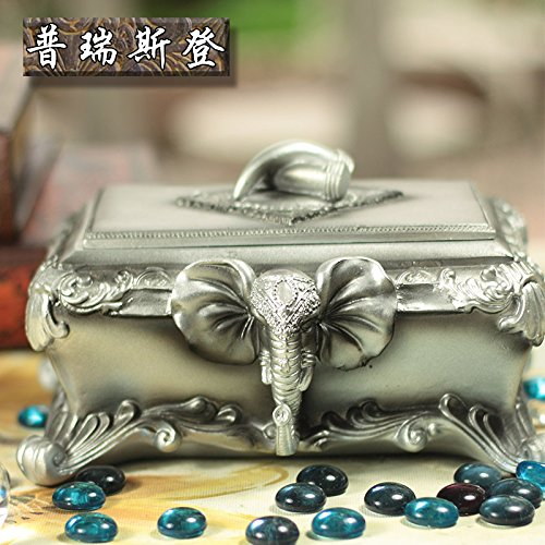 CTH Collectibles Bronze Tone Embossed Elephant Old Stye Wooden Jewelry Box Case
