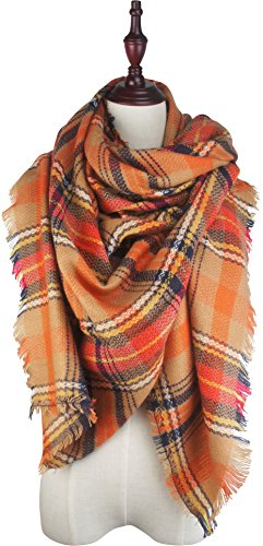 Vivian & Vincent Soft Classic Luxurious Blanket Tartan Square Scarf Wrap Orange C17