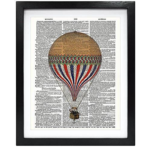 Susie Arts 8X10 Unframed Antique hot air Balloon Friends Gift Living Room Kids Room Art Upcycled Vintage Dictionary Art Print Book Art Print Home Decor Wall Art V191