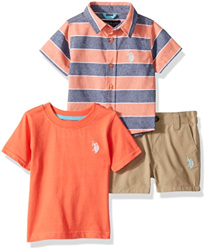 U.S. Polo Assn. Baby Boys Sleeve, T-Shirt and Short Set, Striped Woven Solid Crew Neck el Warm Coral, 6-9 Months (Sleeve Shirt Woven)