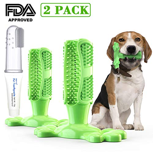 YRCP Dogs Toothbrush Chew Toys, Dental Care Kit, Brushing Stick Finger Toothbrush+Toothpaste, Non Toxic and Bite-Resistant