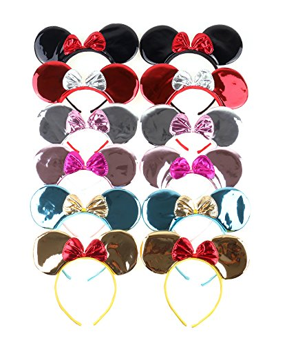 Girls Kitty Cheshire Costumes (RufNTop Mickey and Minnie Mouse Glossy Bow Ears Headband for Boys and Girls Costume Accessory for Birthday Party or Celebrations(Glossy Mix set of 12))
