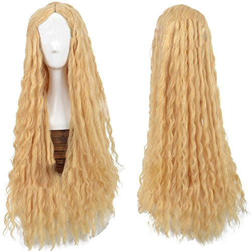 Xcoser Pretty Galadriel Fairy Yellow Long Curly Wig Hair for Cosplay Costume Accessories -