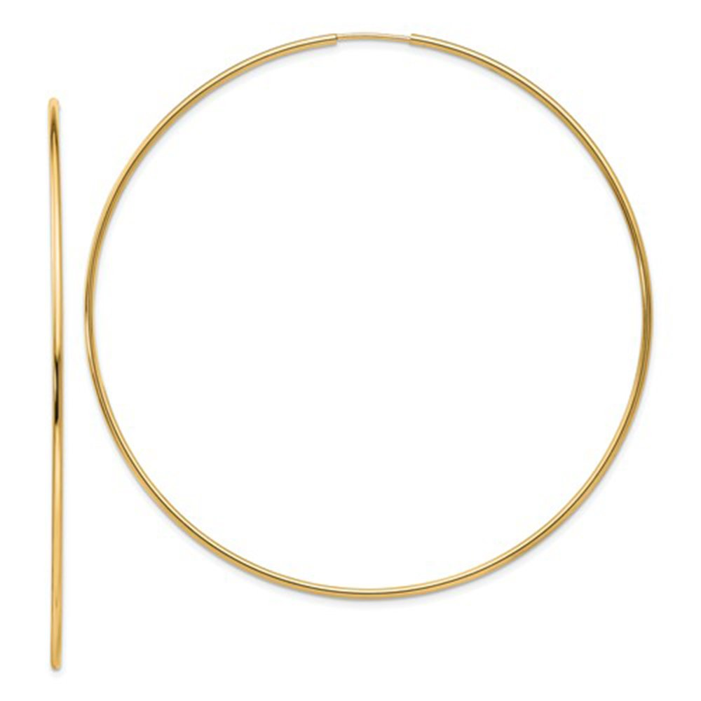Large 14k Yellow Gold Continuous Endless Hoop Earrings, 1.2mm Tube (74mm)