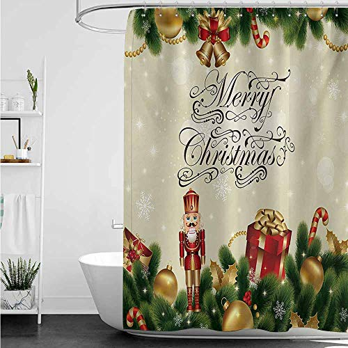 (home1love Polyester Shower Curtain,Christmas Noel Season Ornaments with Birch Branch Cute Ribbons Bells Candy Canes Art Image,Shower Curtain with Hooks,W94x72L,Multicolor)
