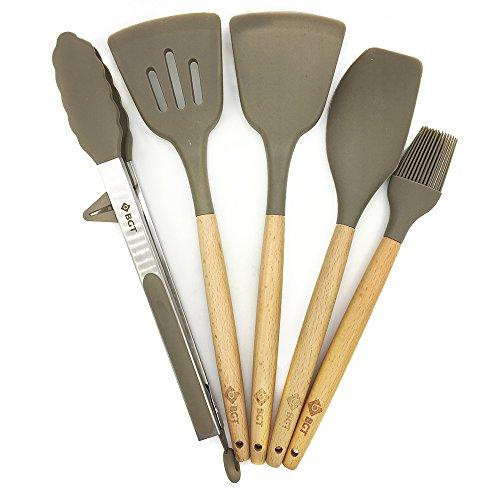 10 Pcs/Set Silicone Kitchen Utensils Set With Beech Wood