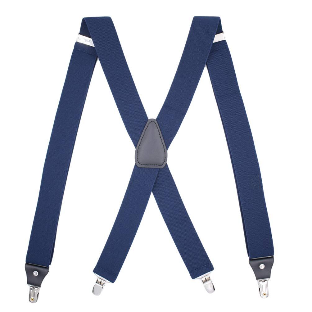SupSuspen Mens Solid X Back Suspenders 1.4 Inch Heavy Duty Braces /&4 Metal Clip
